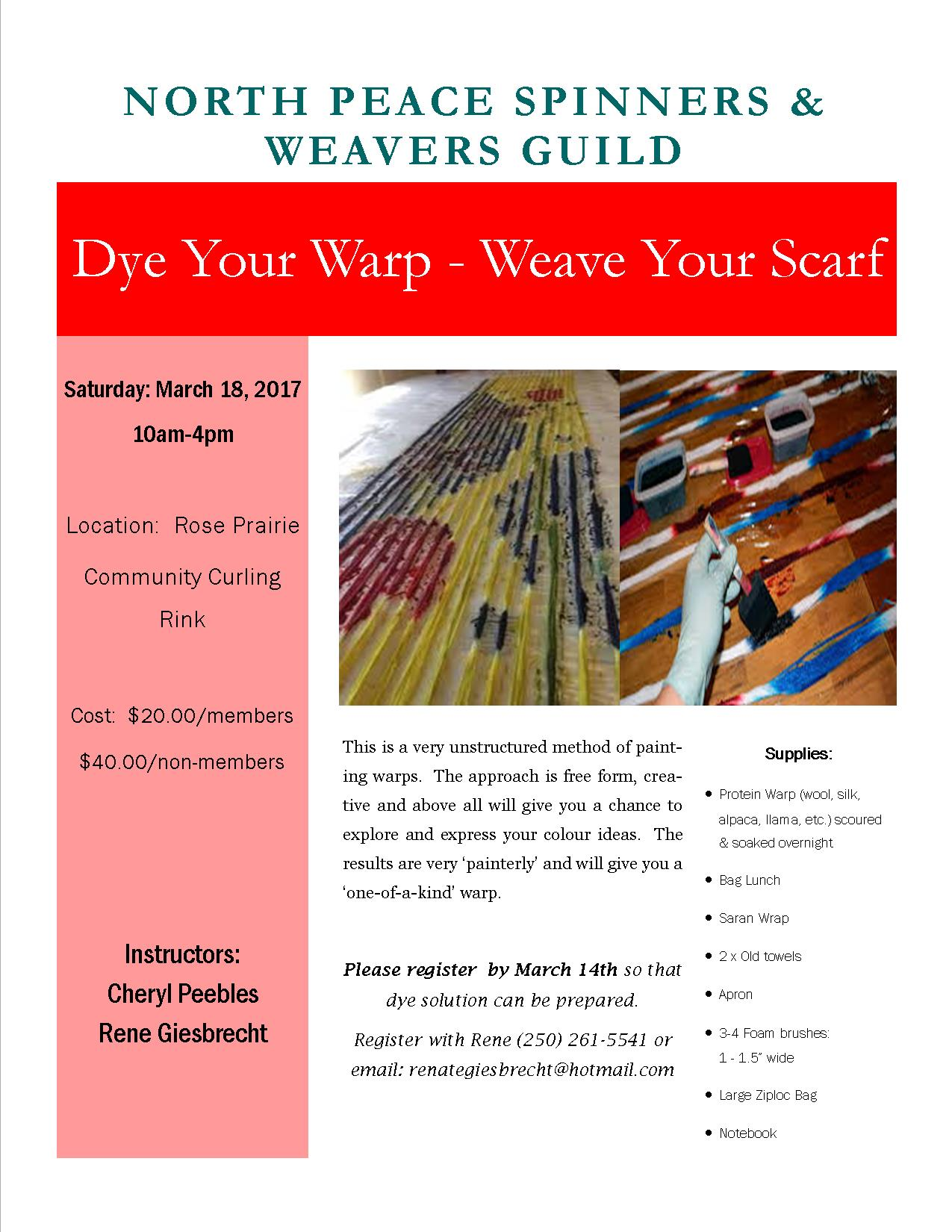 NPSWG Poster - Dye Your Warp - Weave Your Scarf