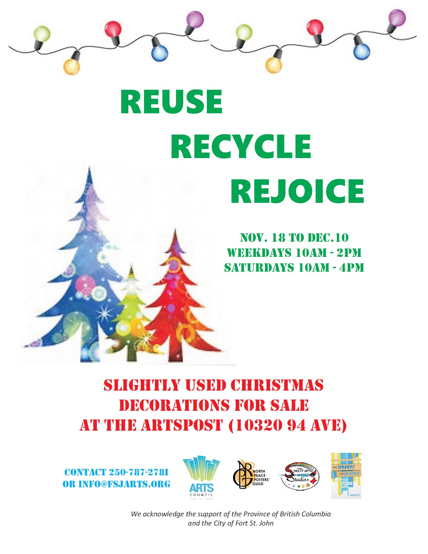 Reduce Recycle Rejoice Fort St John Arts Council